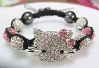 New Fashion Women Bracelets Pink Bowknot Hello Kitty Crystal Shamballa Bracelets Bangles Wholesale 5pcs/lot Charm Bracelet