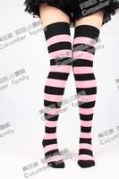 hot selling Soft powder black wide stripe over-the-knee socks stocking ultra long
