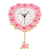 FREE SHIPPING Resin wall clock rustic wall clock wall clock fashion heart rose wall clock mute