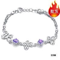 free shipping 2pcs couple Fashion jewelry silver plated bracelet butterfly amethyst bracelet rhinestone n398