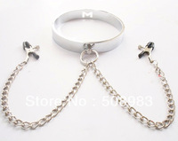 Rolled Stainless Steel Slave Collars with  clips / Slave Neck Ring / Public Coll sex toys M386