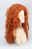 Brave merida orangewave long synthetic cosplay costume wig.68cm .Free shipping