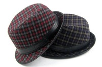 Tweed Plaid Fedoras With Leather Band Trendy Sting Brim Hats Grid Top Hat Unisex Caps Cap Blue Red