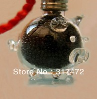 Kawayii Pig Design Glass Bottle Vial  Pendant Freshipping Miniature Bottle