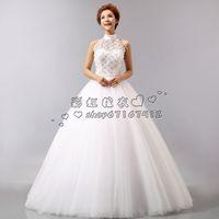 2014 wedding formal dress fashion cutout halter-neck wedding dress bride puff wedding dress