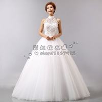 2012 wedding formal dress fashion cutout halter-neck wedding dress bride puff wedding dress