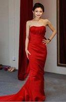Free shipping New fashion Women's Red Fish tail Formal dress Slim Evening dressTube top sexy celebrity dress customized Quality