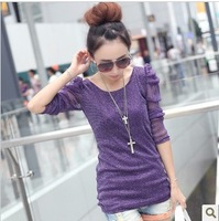 2013 New Arrival Plus Size Clothing OL  Women Spring And Autumn Slim Lace Long-Sleeve O-Neck Puff Shoulder Basic T Shirt