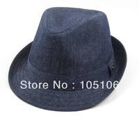Unisex Blue Fashion Fedora Hats Adult Stingy Brim Caps Classical Jazz Hat Cap