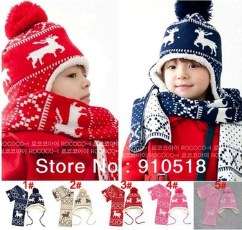 Christmas Children Cap and Scarf 2 PCS Set Magic Fawn Cotton&Wool Earflap Children Hat Free Shipping, N023