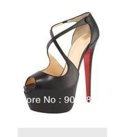 sexy high heels Leather Criss-Cross Platform Sandals wedding shoes victoria beckham pumps 16CM heel 2012 newest styles