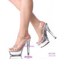 Wedding shoes 15 ultra high heels sandals transparent crystal shoes platform t ruslana korshunova