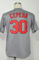 #30 Orlando Cepeda Men's Authentic 1967 Road Grey Throwback Baseball Jersey