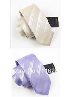 Man fashion leisure tie purple champagne two color choose stripe 7 cm narrow tie