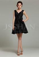 12B007 V-Neck Tiered Wide Straps Black Taffeta Short Gorgeous Luxury Unique Bridesmaid Dress