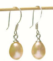 EMS Free Shipping 100Pairs/Lot Fashion Pearl Earrings & Silver Hook For Gift Craft Jewelry Pink C0*