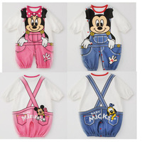 New Arrival Bowknot Blue Pink Mickey Mouse Rompers Suits For Baby Infant Kids Boys Wholesales 1 Lot 6 Pieces
