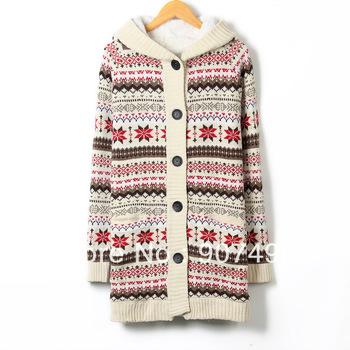 Лучшие продажи! Женщины долго Сгущает Снежинки свитер с капюшоном зима Верхняя одежда для женщин + бесплатная доставка