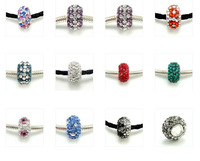 EMS Free Shipping 50pcs/Lot Mix Color 925 Sterling Silver Rhinestone European Beads Fit Charm Bracelet Necklace DL01