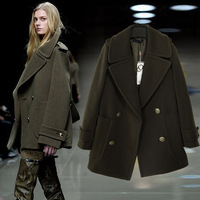2012 double breasted woolen overcoat fashion slim turn-down collar women's outerwear