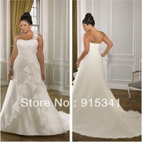Top Online A-line Strapless Single Removable Shoulder Appliqued Wedding Dress Fashion Organza