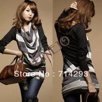 2013 Fashion new Korea Women's 2 Pcs Turn-Down Collar Stylish Top T-Shirt  2311