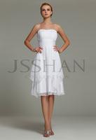 12B014 Strapless Pleated Layered Pretty Chiffon Elegant Gorgeous Party Dresses White Bridal Bridesmaid Dress