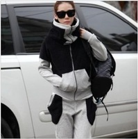 Fashion 100% Cotton Turtleneck Patchwork Fleece Thick Women's Sportswear Set Zipper Hoody Ladies Hoodies Suit