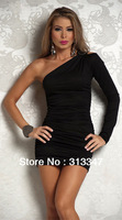2013 Free Shipping Fashion Sexy woman Intimate Nightwear Halter Women Nice Girl party dress one-shoulder Clubbing wear black M35