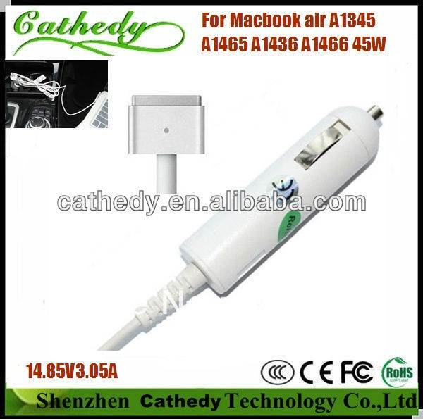 45W 14.85V 3.05A Laptop Car Charger for Apple with Magsafe 2 5pin 45W A1345 A1465 A1436 A1466(China (Mainland))