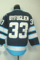 #33 Dustin Byfuglien Men's Authentic Home Navy Hockey Jersey