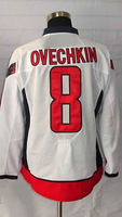 #8 Alex Ovechkin Men's Authentic Road White Hockey Jersey