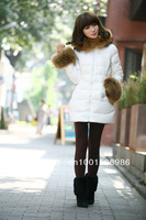 Free Shipping 2012 New Brand Ladies Down Jacket Big Fur Collar ,Winter Jacket Color Black  Fashion Warm Women's Down Coat #110