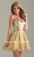 Free Shipping HUY-8875 Sexy A-line Short Prom Dress Gold Sequin Cocktail Mini Dress Party Dress Custom-made