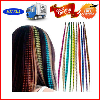 Free DHL 1000 Pcs A Lot ! 16&#39;&#39; Mixed 10 Colors Synthetic Rooster Grizzly Feather Hair Extension Best Gift For Your Girlfriend(China (Mainland))