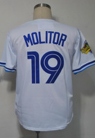 #19 Paul Molitor Men's Authentic 1993 Home White Throwback Baseball Jersey