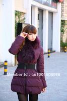 Hot Selling 2012 Newest Ladies Down Jacket Fur Collar ,Winter Long Style down Jacket ,Fashion Warm Women's Down Coat