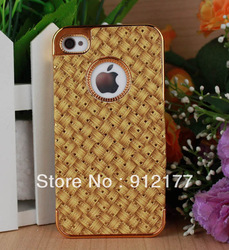 For iPhone 4 4S Chrome Case,Gold Deluxe Carbon Fiber hard Case For iPhone 4 4S FREE SHIPPING(China (Mainland))