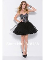 Free Shipping UEH-8878 Sexy A-line Tulle Beading Short Prom Dress Black Cocktail Dress Party Dress Custom-made