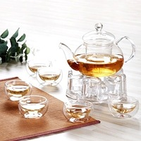 glass tea set fashion tea cup heated black tea kettle kung fu tea service glass teapot Free shipping