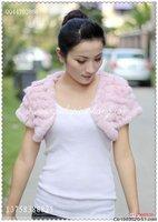 2011 rabbit fur cape/knitting rabbit fur shawl/ vest waistcoat outerwear/ free shppin