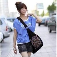 Spiraea pattern of the new Korean the Bohemian style canvas diagonal shoulder bag