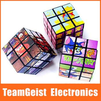 Free Shipping 10pcs/lot Puzzle Foldable cartoon Magic Game cube magic Square Cube educational toys