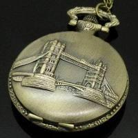 Free Shipping Antique Tower of London Bridge Quartz Pocket Watch