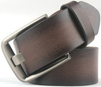 High quality casual pin buckle brushed single tier pure first layer of cowhide male genuine leather strap waist of trousers belt