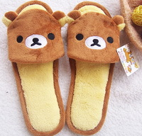 FREE SHIPPING Bear indoor slippers plush cartoon slippers at home casual floor cotton drag open toe slippers