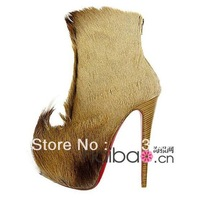 Free shipping! 2011 Luxury mink fur boots, fashion women's high heel shoes, platform high heels boots!