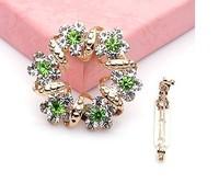 Y035 wholesale Korean fashion jewelry luxury crystal Garland scarf buckle brooches dual-use