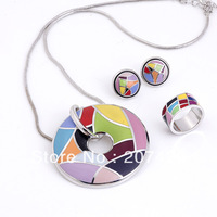 free shipping newest arrival brand product zinc alloy enamel jewelry set,1set(necklace,earrings,ring)