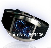 Free shipping Mens Face Automatic Luxury Wrist Watch men's watch Men's style LED watch ,RPM LED WATCH 3ATM WITH box package
